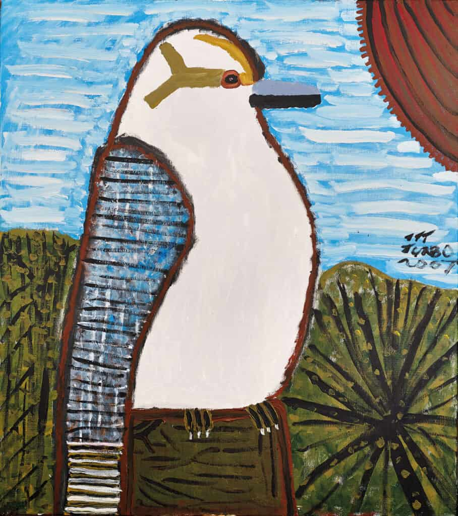 Turbo Brown Kookaburra Looking out for a Snake 2007 acrylic on linen 138 x 122 cm $10500