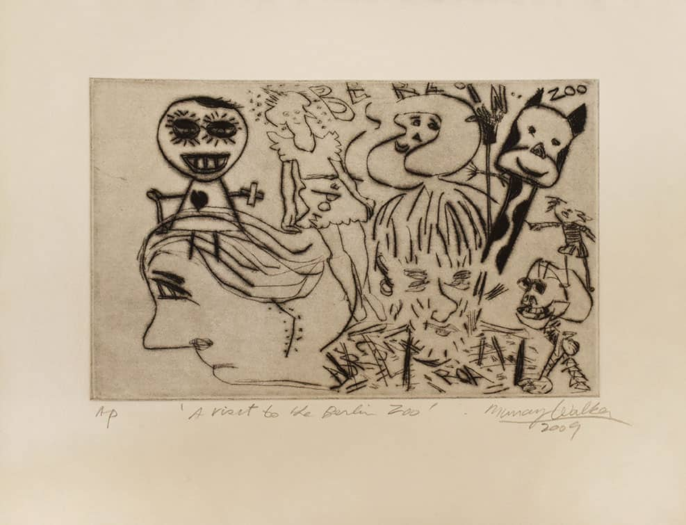 Murray Walker A visit to the Berlin Zoo 2009_Drypoint etching on Barcham Green handmade paper 25h x 31w cm $875