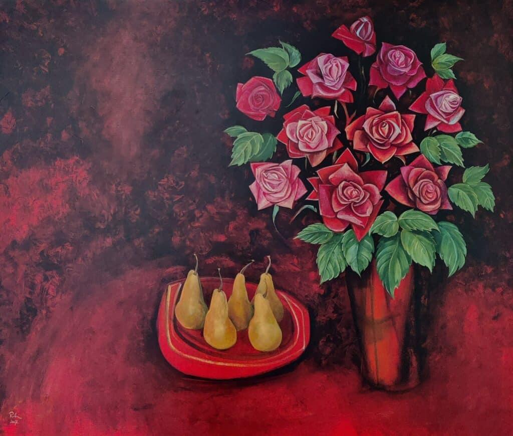 Victor Rubin, Red Rose Duet, 2007, acrylic on linen, 125 cm x 183 cm